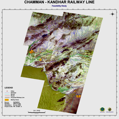 Satellite image of proposed route for Chaman to Kandahar railway