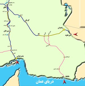 Map of Bam - Zahedan railway