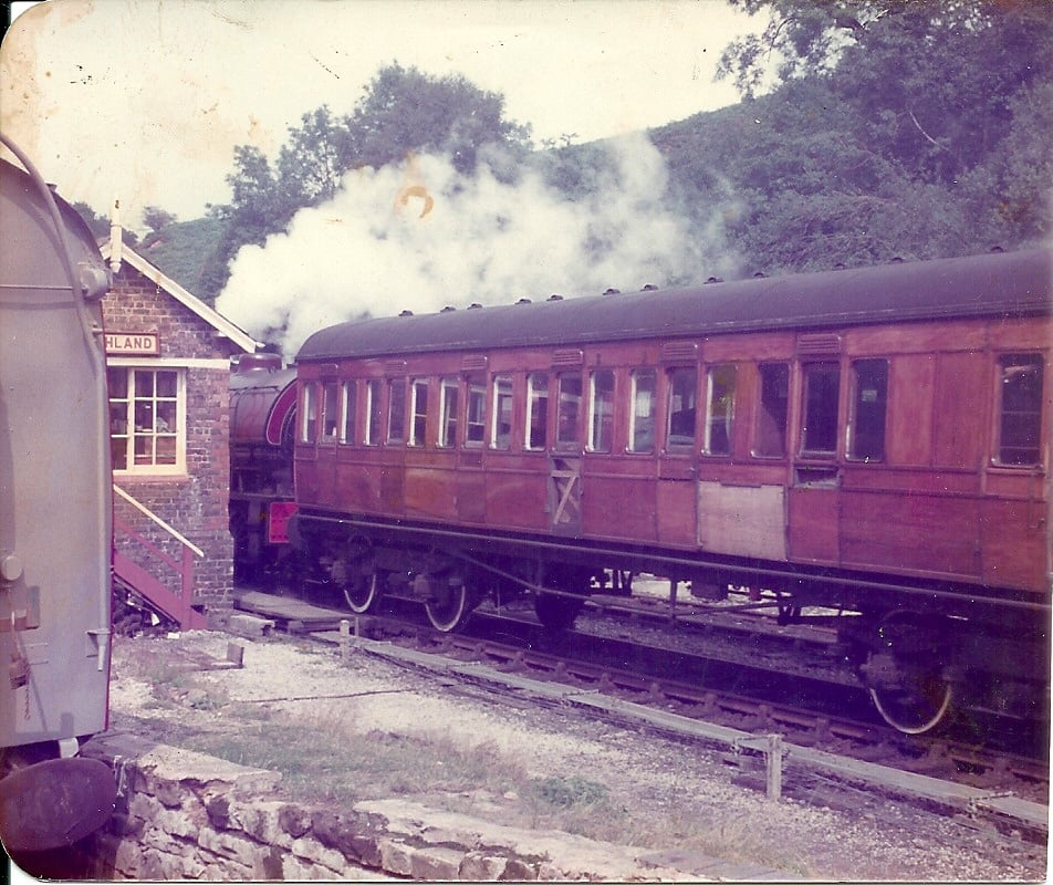 H&BR No.40 on a test train passing through Goathland bound for Grosmont behind 0-6-0ST 'Antwerp' in the 1980s.