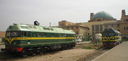 [Two locomotives in Baghdad, photographed by Rick Degman]