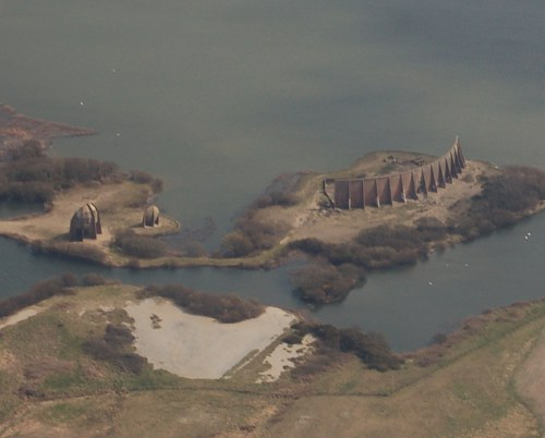 Aerial photograph of the sound mirrors at Denge