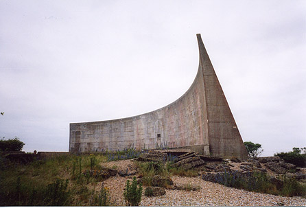[Photograph of the wall-style sound mirror]