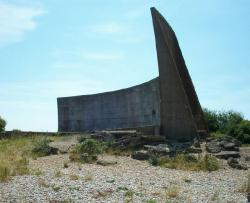 [Photograph of the 200-foot wall-style sound mirror]