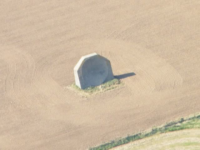 Photo of the Kilnsea acoustic mirror from the air