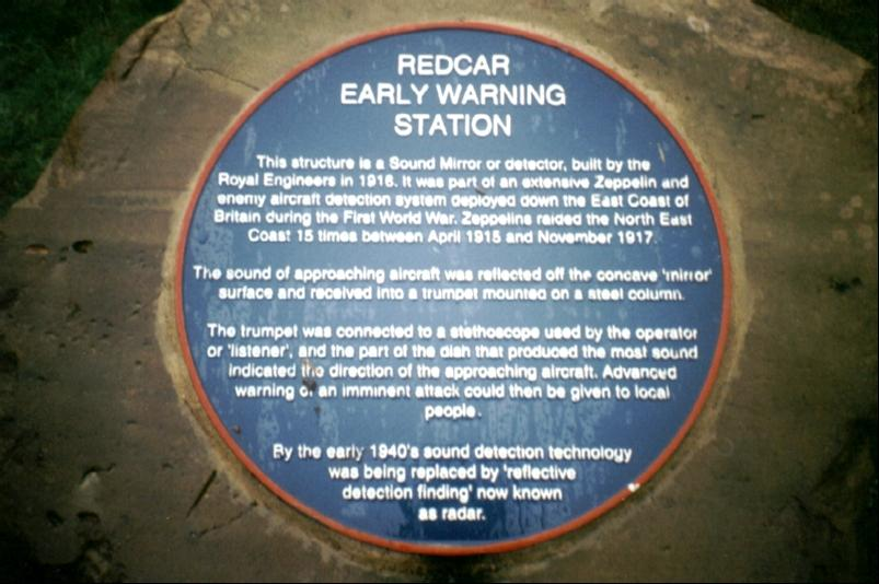 [Plaque in front of the Redcar sound mirror]