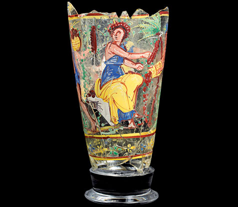 Enamelled glass goblet from Begram, 1st century AD