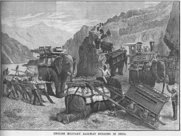 Sketch of elephants carrying dismantled railway locomotives in the Bolan Pass