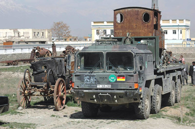 Afghan locomotive on a military lorry