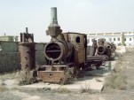 Steam locomotives in the Kabul museum during 2004.