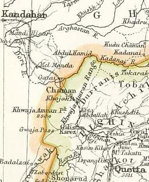 Quetta - Chaman - Kandahar railway map from 1893
