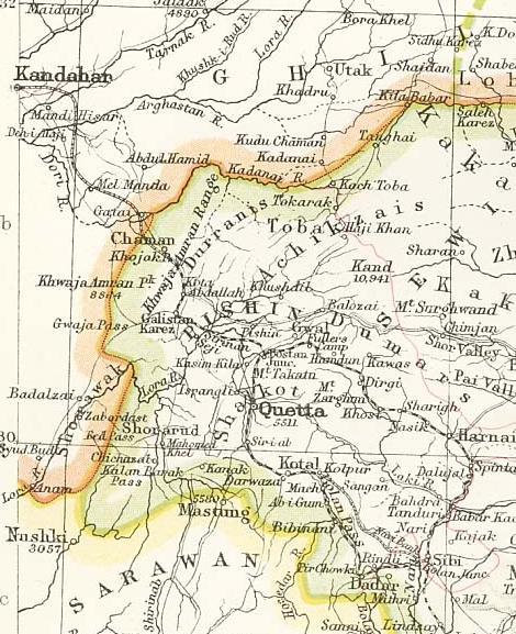 Chaman to Kandahar railway on the 1893 edition of Constable's Hand Atlas of India