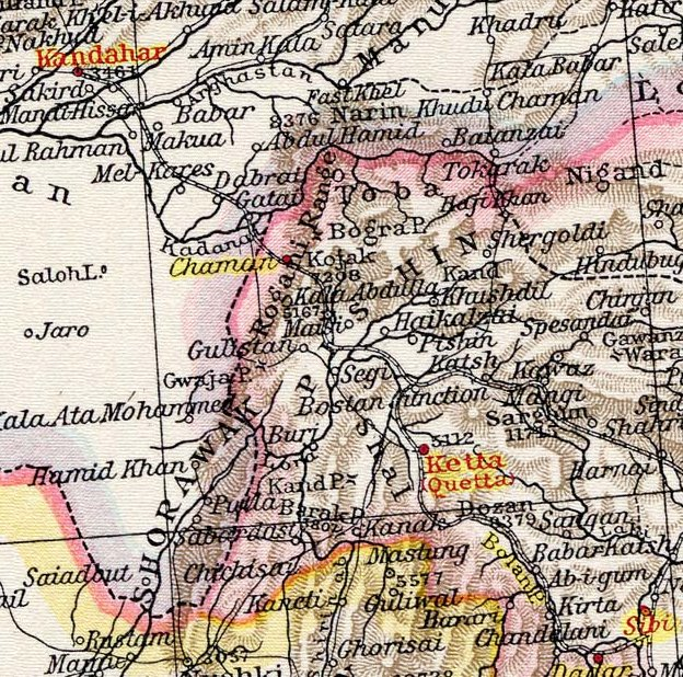 Map showing proposed Quetta - Kandahar railway, 1895