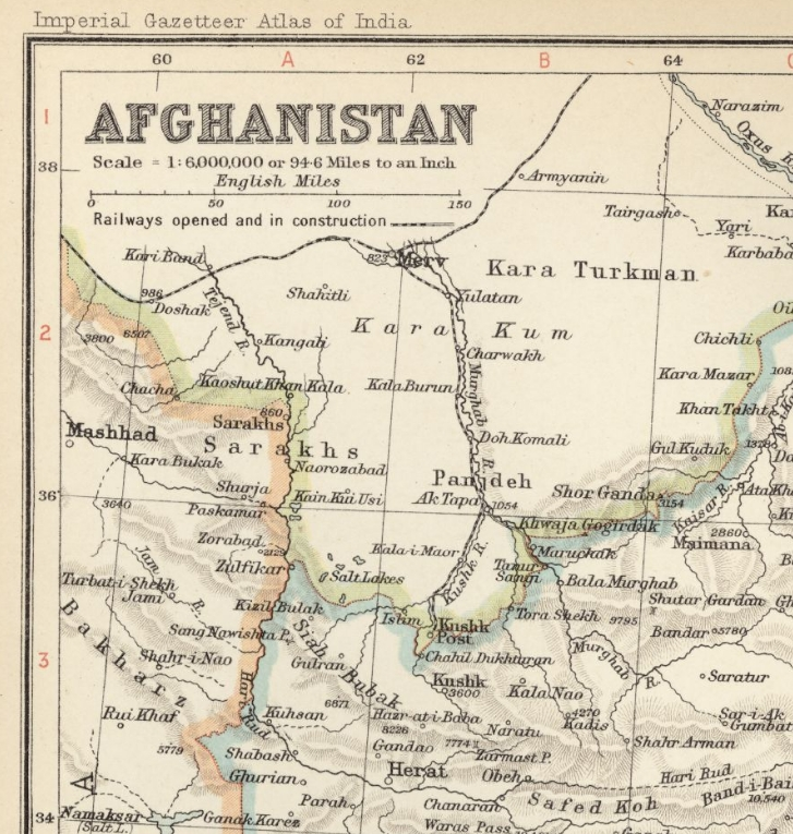 Imperial Gazetteer of India 1909 map of Afghanistan