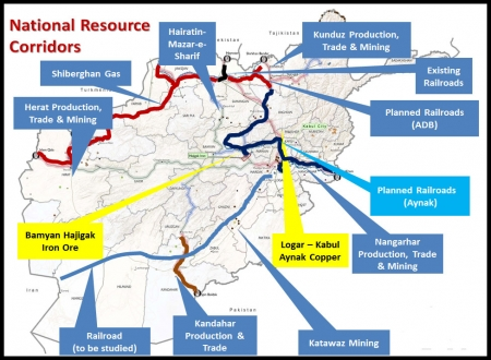 Map of national resource corridors in Afghanistan