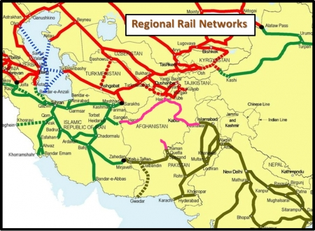 Map of railways in Afghanistan and surrounding countries