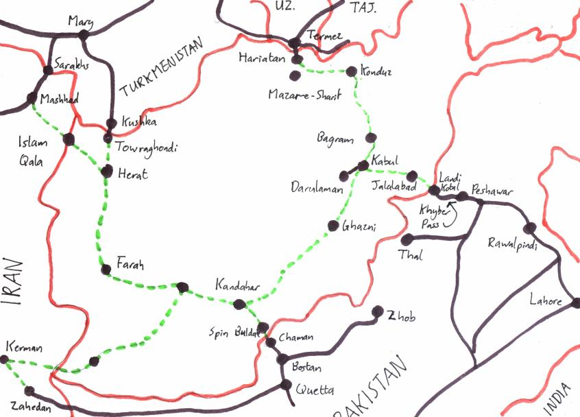 Map of railway proposals railways of afghanistan map of railway schemes in afghanistan gumiabroncs Images