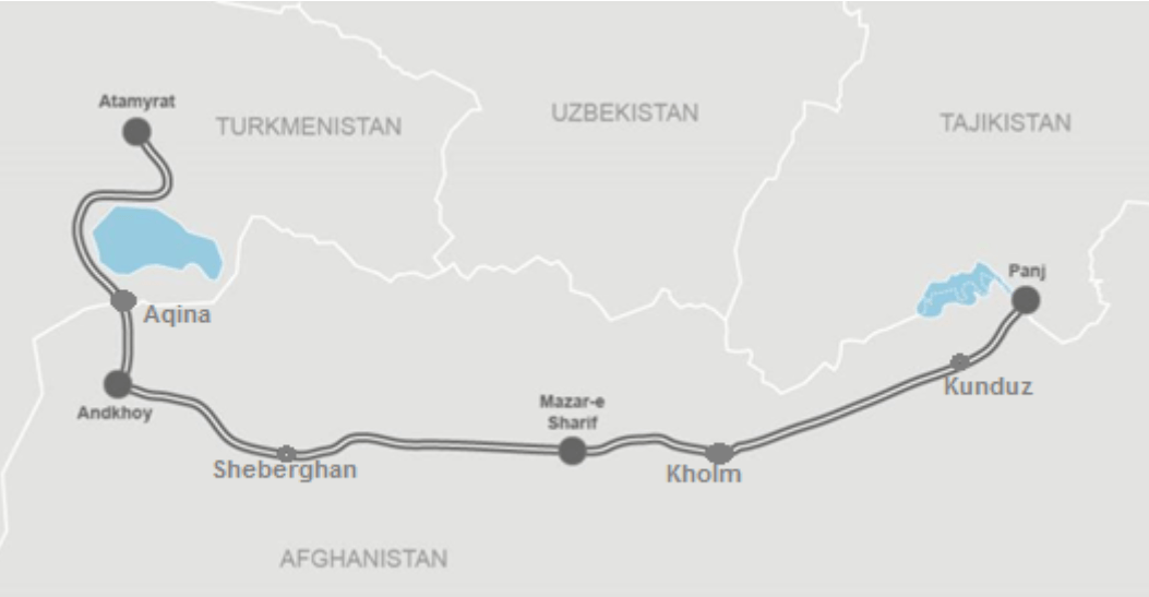 Map of the Turkmenistan - Afghanistan - Tajikistan railway project