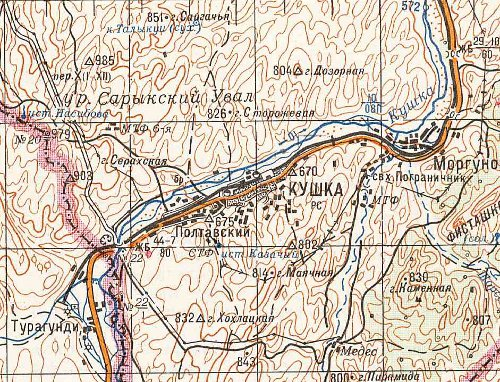 Soviet map showing the railway from Kushka to Towraghondi