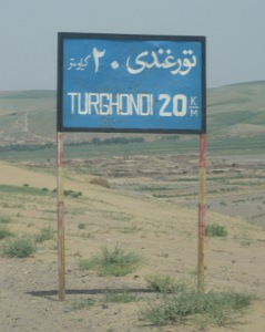 Turghondi road sign