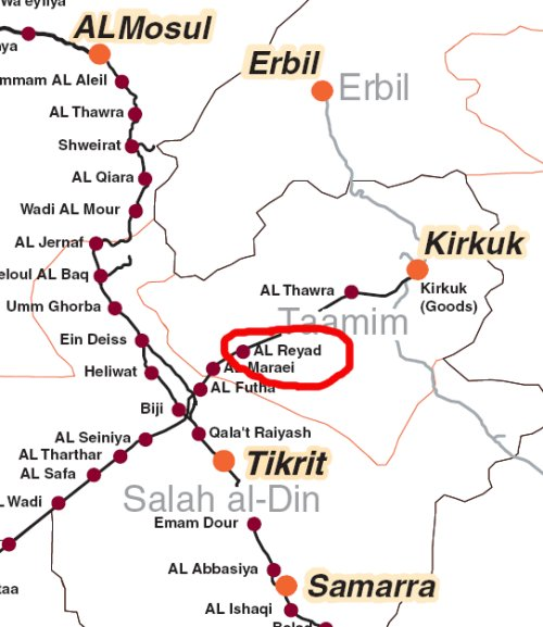 Iraq Takes Over Reyad Station From US Railways Of Iraq - Map showing us and iraq