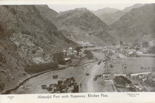 1920s postcard showing Ali Masjid fort and the Khyber Pass ropeway